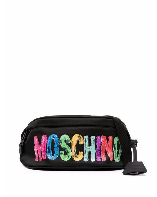 メンズ Moschino ロゴ ベルトバッグ Black