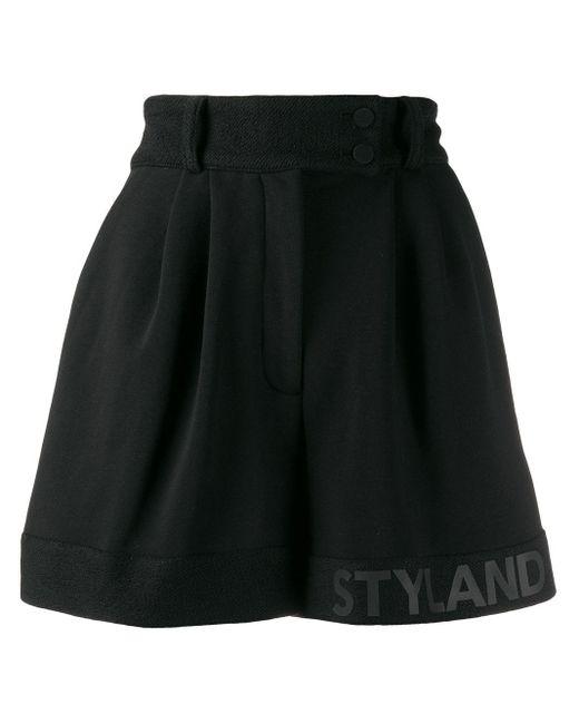 Styland プリーツ ショートパンツ Black