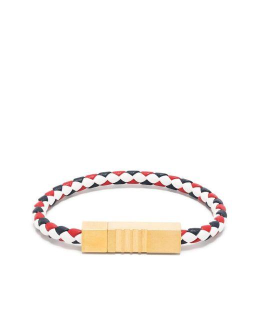 Bracelet en cuir à plaque logo Thom Browne pour homme en coloris White