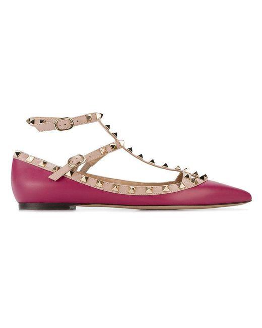 Valentino | Pink Garavani Rockstud Ballerinas | Lyst