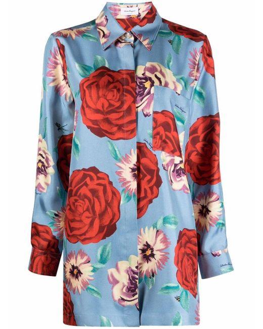 Рубашка С Цветочным Принтом Ferragamo, цвет: Blue