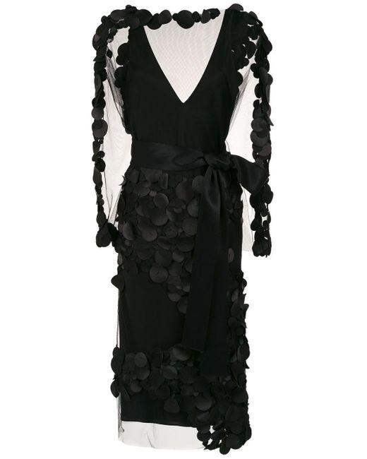 Robe mi-longue à appliqués Gloria Coelho en coloris Black