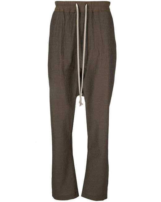 Rick Owens Brown Relaxed Textured Trousers for men