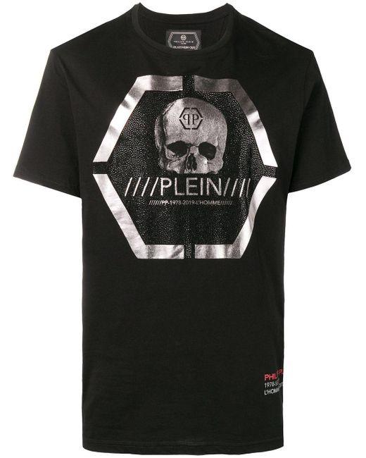メンズ Philipp Plein スカルプリント Tシャツ Black