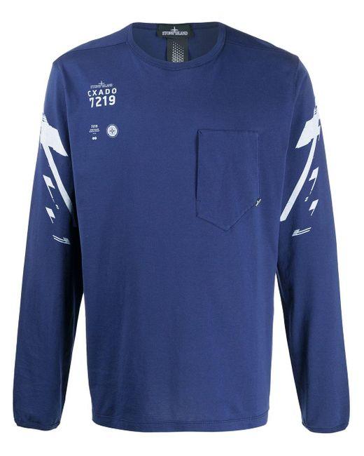メンズ Stone Island Shadow Project パッチポケット Tシャツ Blue