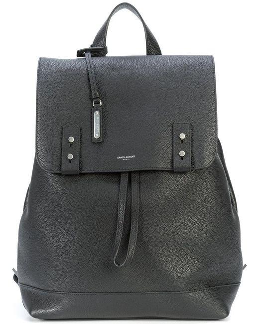 Saint Laurent - Black Sac de jour sac à dos en cuir grainé for Men - Lyst