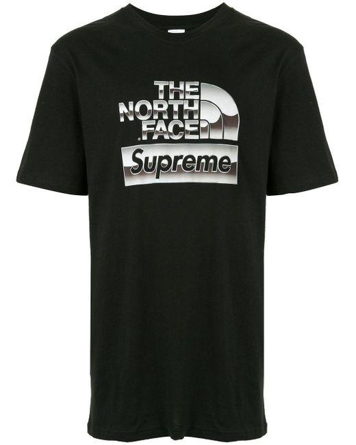 メンズ Supreme メタリック ロゴ Tシャツ Black