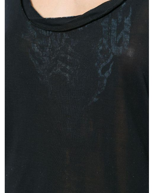 Unravel Project Black Seidenoberteil mit U-Ausschnitt