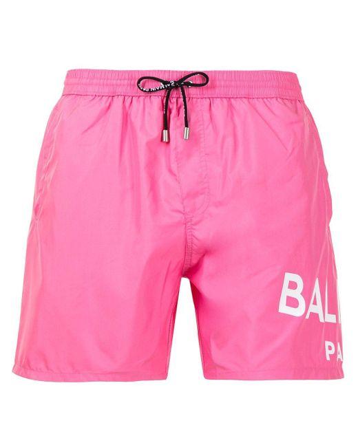 Balmain Pink Logo-print Drawstring Swim Shorts for men