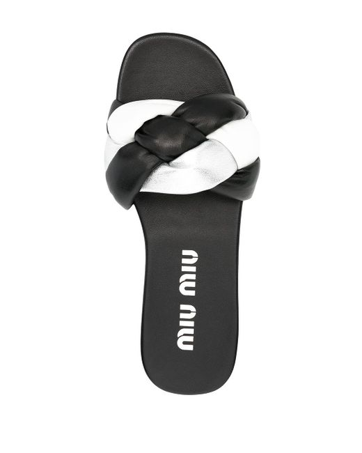 Miu Miu Black Sandalen mit gewebten Riemen