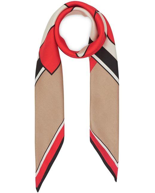 Burberry モノグラム シルクスカーフ Red