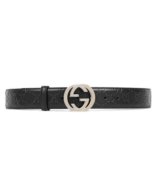 Cinturón de piel Signature con hebilla de G Gucci de color Black