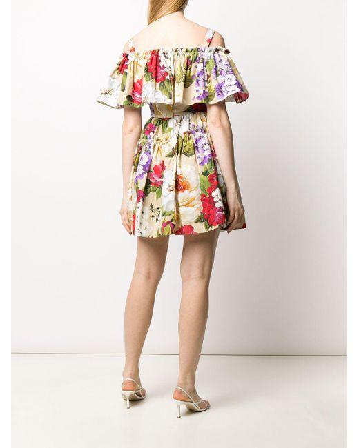 Платье Мини С Цветочным Принтом Dolce & Gabbana, цвет: Multicolor