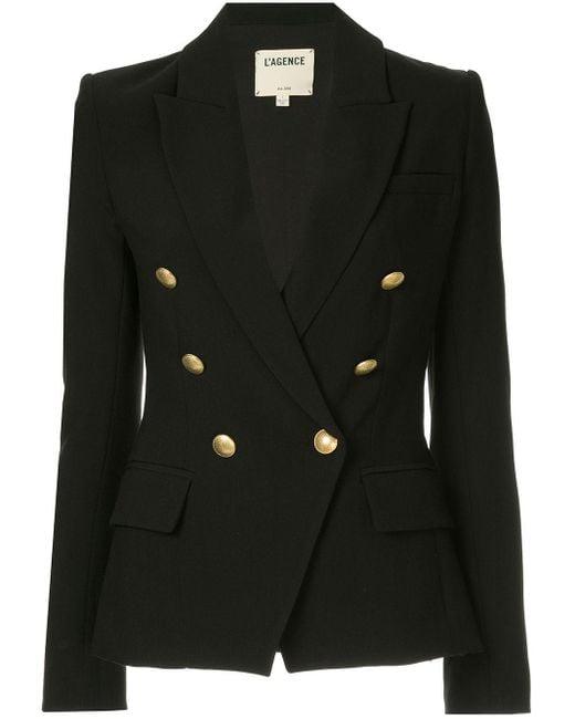 L'Agence Lapel Detail Blazer Black