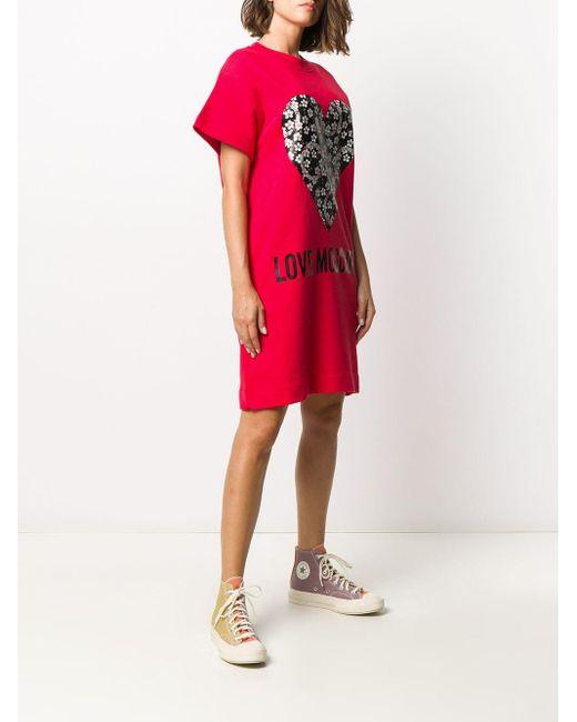 Love Moschino ハートプリント Tシャツドレス Red
