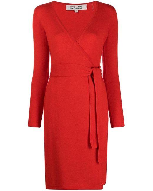 Vestito midi con scollo a V di Diane von Furstenberg in Red