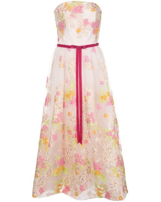 Расклешенное Вечернее Платье С Цветочным Принтом Marchesa notte, цвет: Pink