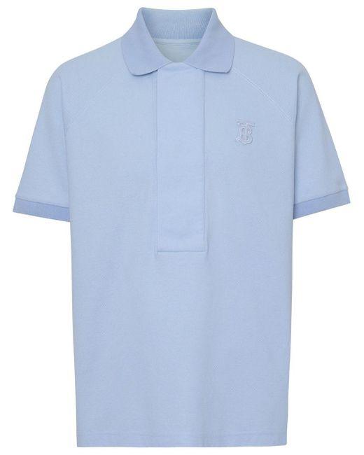 メンズ Burberry モノグラム ポロシャツ Blue
