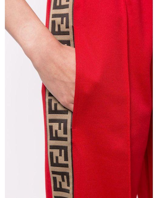 Брюки Свободного Кроя С Узором Ff По Бокам Fendi, цвет: Red