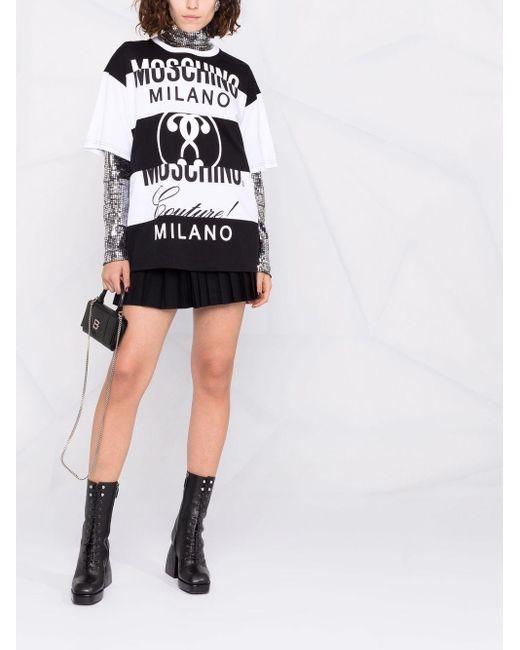 Moschino マルチロゴ ストライプ Tシャツ Black