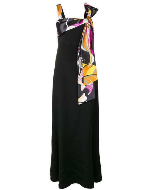 Emilio Pucci - Black Tied Chest Long Dress - Lyst