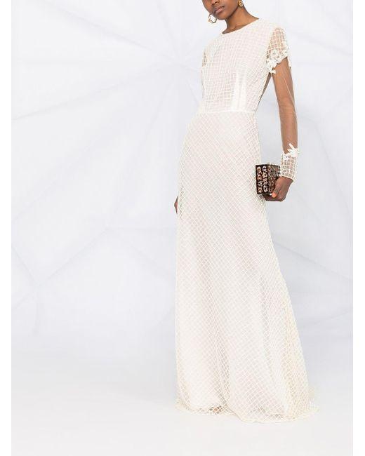 Parlor ラッフルトリム イブニングドレス White