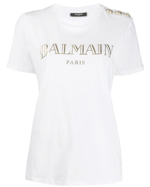 Balmain Camiseta con logo metalizado de mujer de color blanco xxTFF