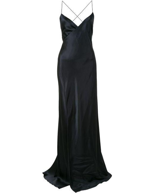 Michelle Mason ストラップ ラップドレス Black