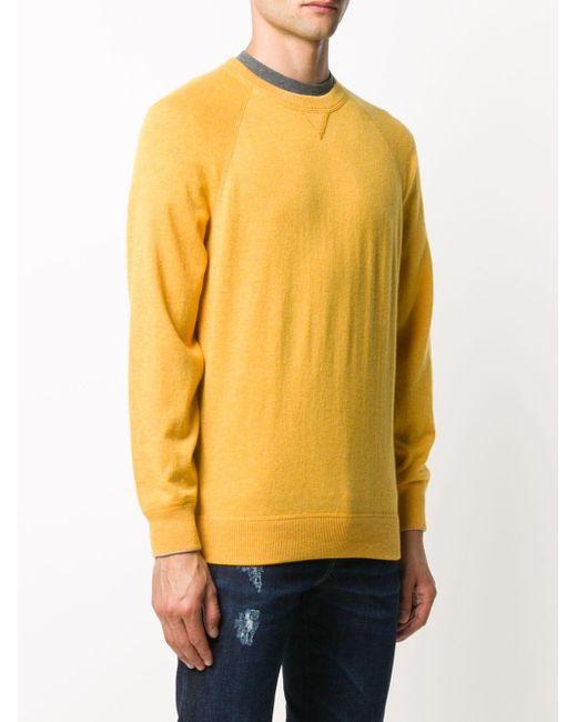 メンズ Brunello Cucinelli カシミア クルーネックセーター Yellow