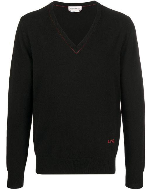Джемпер С Контрастной Строчкой Alexander McQueen для него, цвет: Black