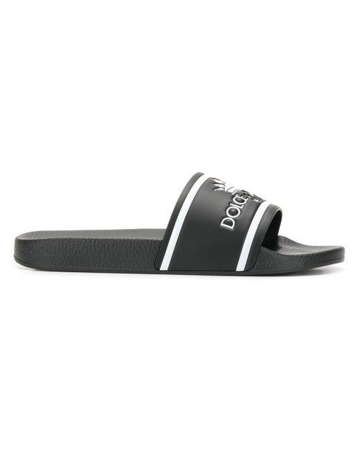 メンズ Dolce & Gabbana エンボスロゴサンダル Black