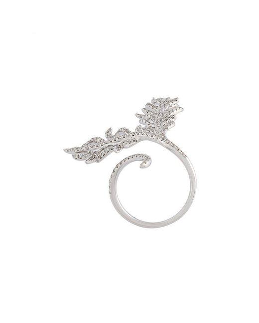 Elise Dray | Metallic Diamond Leaf Ring | Lyst
