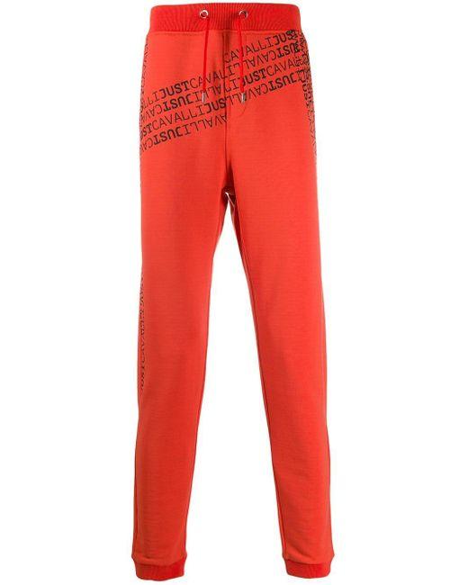 メンズ Just Cavalli ロゴ トラックパンツ Red
