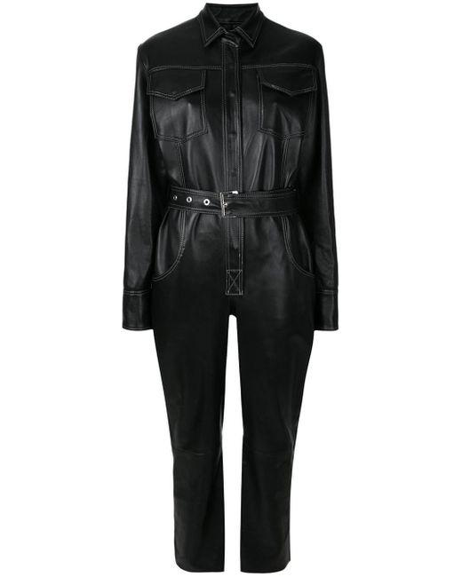 Manokhi レザー ジャンプスーツ Black