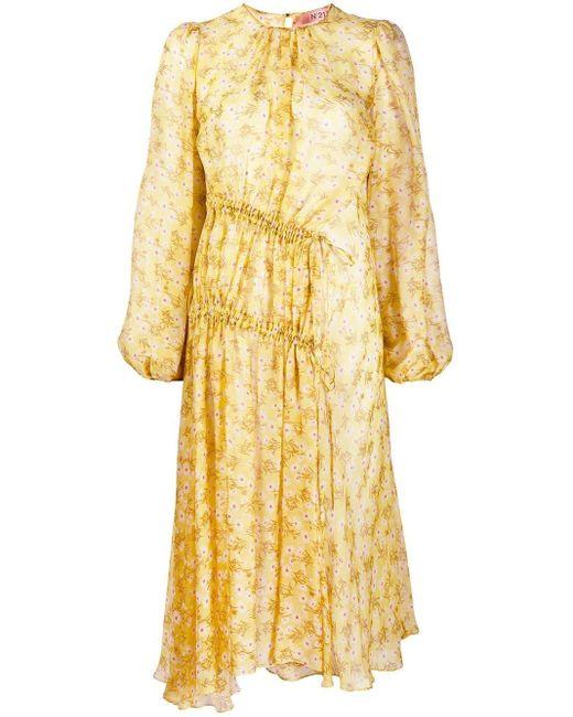 N°21 Pâquerettes プリント ドレス Yellow