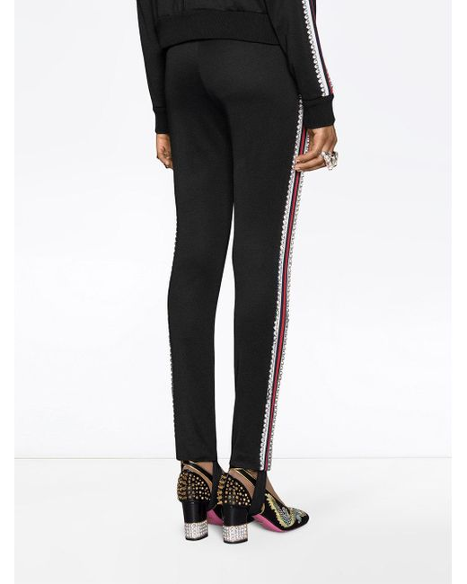 Lyst - Gucci Technical Jersey Stirrup Leggings With Crystals in Black - Save 7%