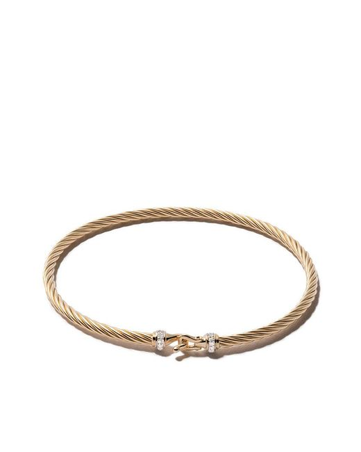 David Yurman - Metallic 18kt Yellow Gold Cable Buckle Pavé Diamond Bracelet - Lyst