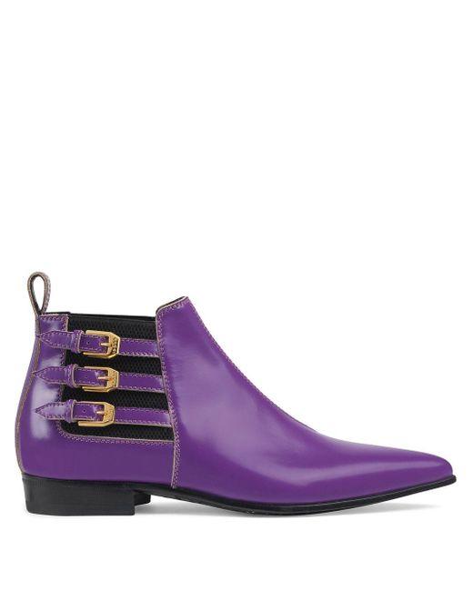 Gucci ストラップ アンクルブーツ Purple