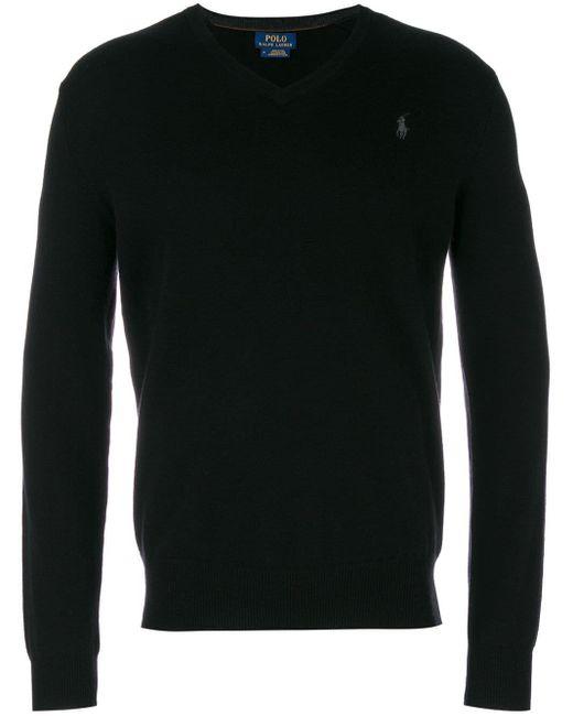 メンズ Polo Ralph Lauren クラシック Vネックセーター Black