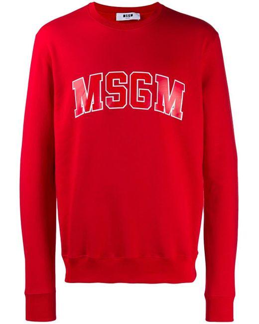 メンズ MSGM ロゴ スウェットシャツ Red