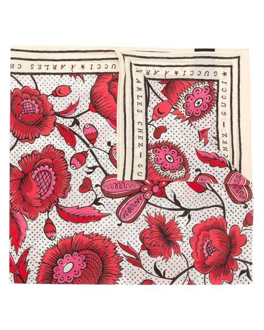Gucci フローラルスカーフ Red