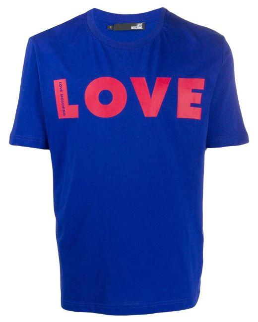メンズ Love Moschino ロゴ Tシャツ Blue