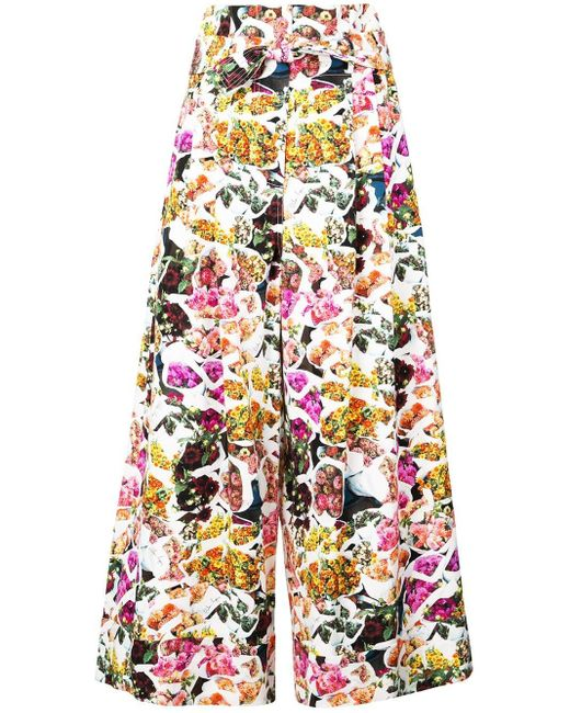 Adam Lippes Multicolor Printed Cropped Trousers