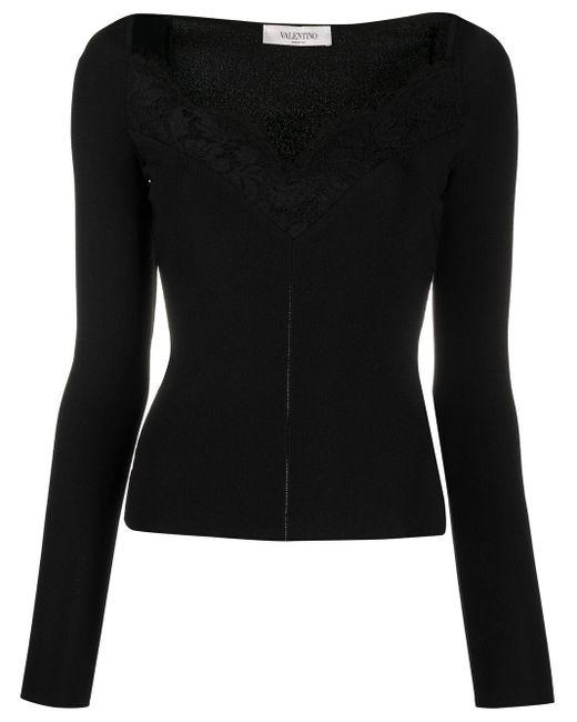 Джемпер С Кружевной Отделкой Valentino, цвет: Black