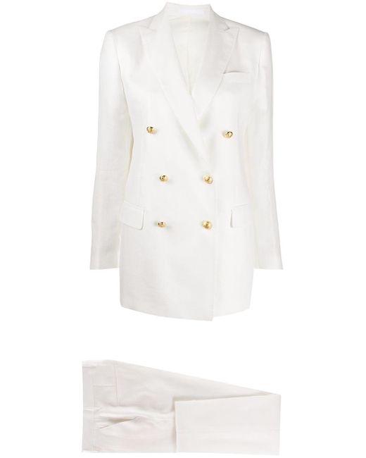 Tagliatore White Double Breasted Trouser Suit