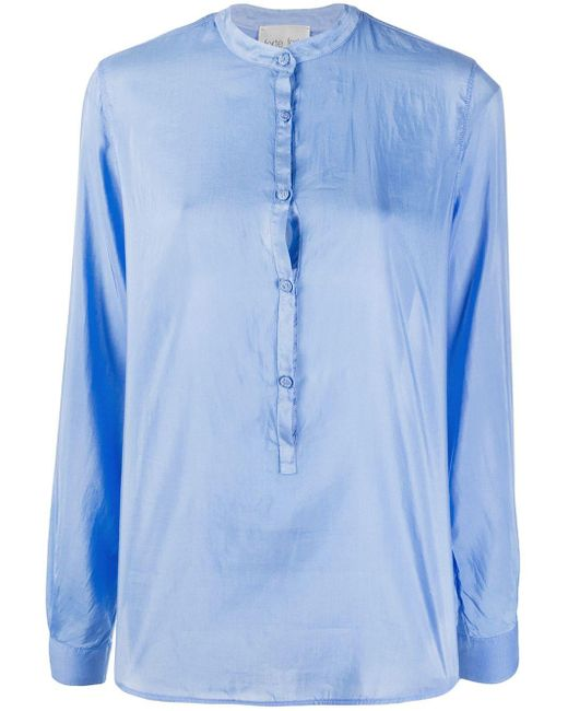 Forte Forte バンドカラー シャツ Blue