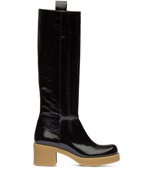 Miu Miu Black Pull-tab Knee-high Boots