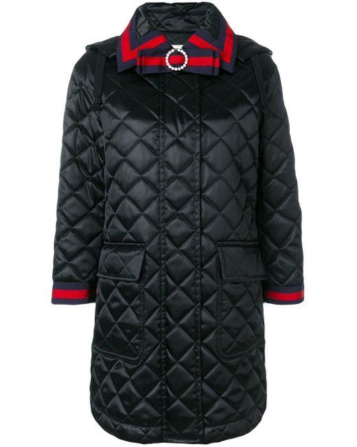 Cappotto effetto trapuntato con cappuccio di Gucci in Black