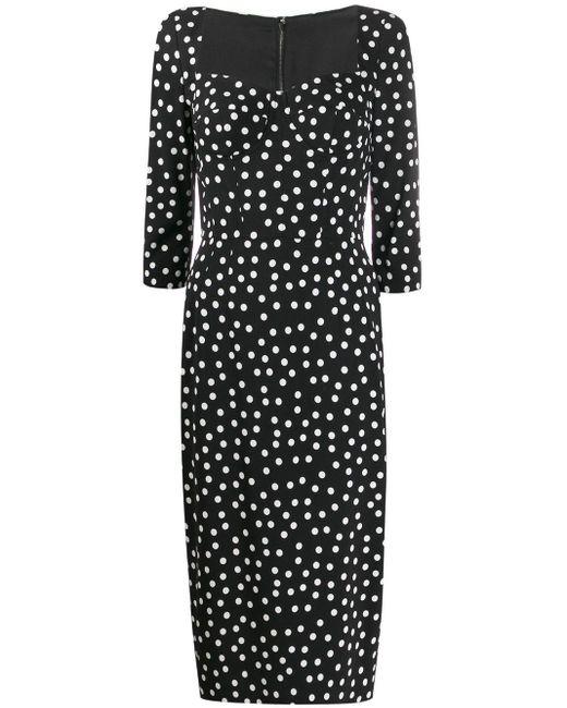 Dolce & Gabbana ポルカドット プリーツドレス Black