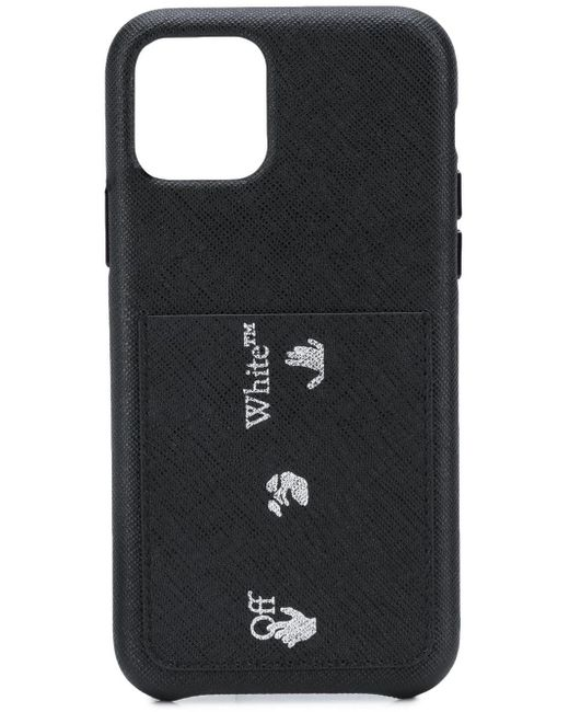 Чехол Для Iphone 11 Pro Max Из Сафьяновой Кожи С Логотипом Off-White c/o Virgil Abloh для него, цвет: Black